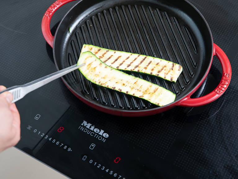 Preheat the grill pan over medium high heat. Add the olive oil and grill the zucchini slices for approx. 3 min. per side. Season with salt, pepper, garlic powder, and dried Italian herbs. Add water, balsamic vinegar, and honey to the zucchini and let it boil for approx. 2 min. Remove zucchini and set aside.