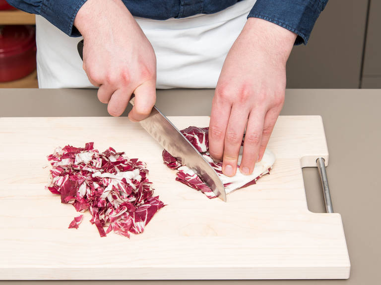 Finely dice the shallots. Quarter the radicchio and slice or tear it into ribbons. Roughly chop the walnuts.