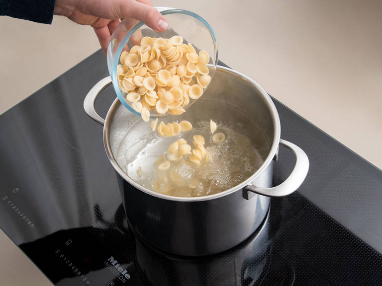 Bring salted water to boil in a large pot. Cook pasta according to packet instructions or until al dente.