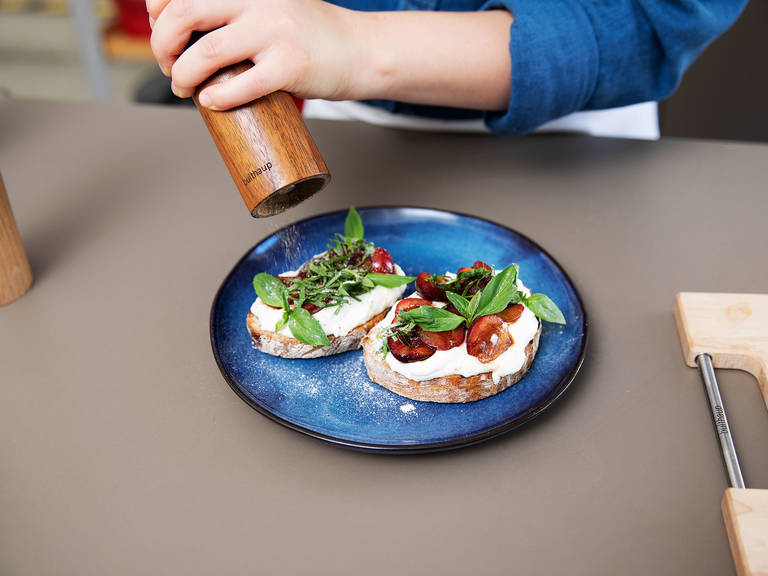Heat a grill pan over medium-high heat and toast bread slices on both sides until light brown. For serving, spread the toasted bread with some of the whipped ricotta, top with balsamic cherries, and sprinkle with any remaining sauce. Garnish with sliced basil and enjoy!