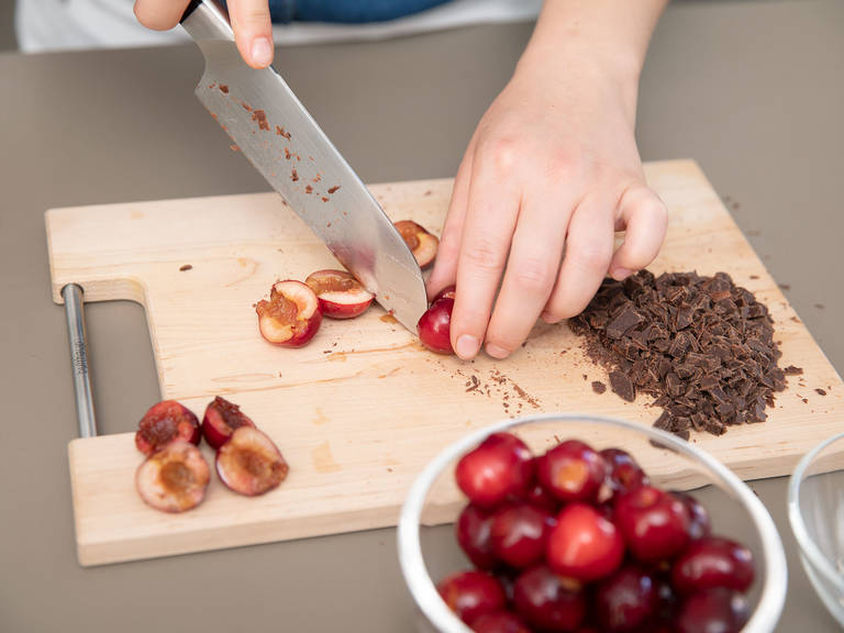 Finely chop chocolate. Halve cherries, remove pit, and cut into small pieces. Add to dough and stir to combine.