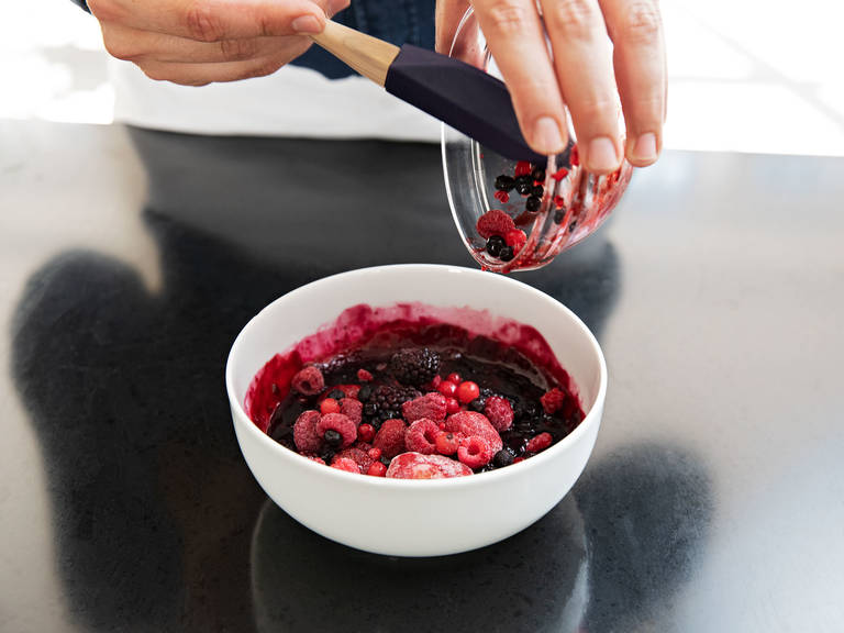 Remove both bowls, add the remaining frozen mixed berries to the berry compote, and stir until combined. Mix the porridge with berry compote. Enjoy!