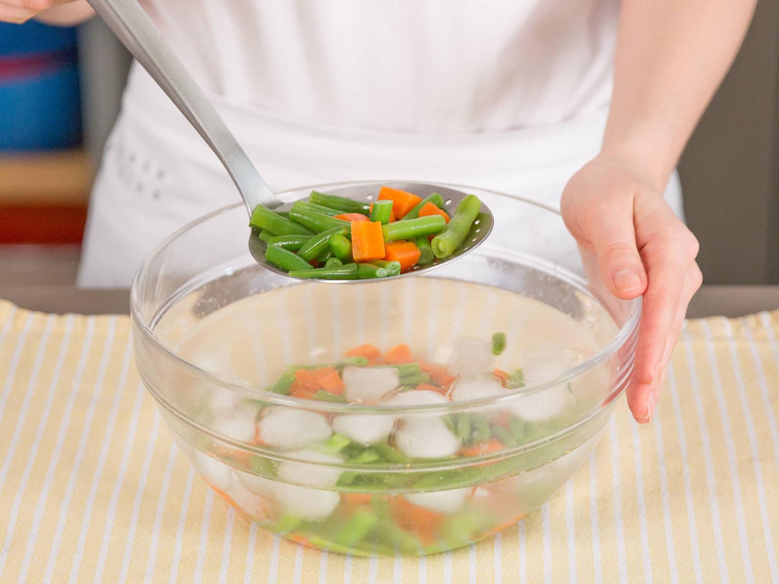 In einem mittelgroßen Topf Karotten und grüne Stangenbohnen ca. 3 - 5 Min. blanchieren. In ein Eisbad geben und danach abgießen. Das Gemüse zusammen mit weißen Bohnen, Fleisch und Brühe servieren. Guten Appetit!