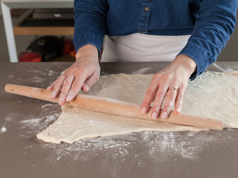 Let bread dough thaw, then roll into a 25x35-cm/10x14-in. rectangle on a lightly floured surface.