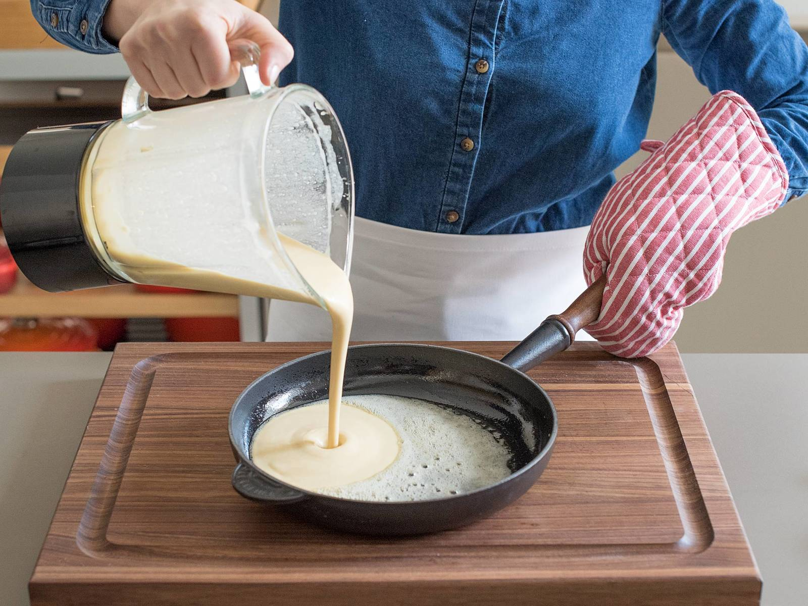 Add butter to frying pan and swirl to coat all sides. Add batter to pan.