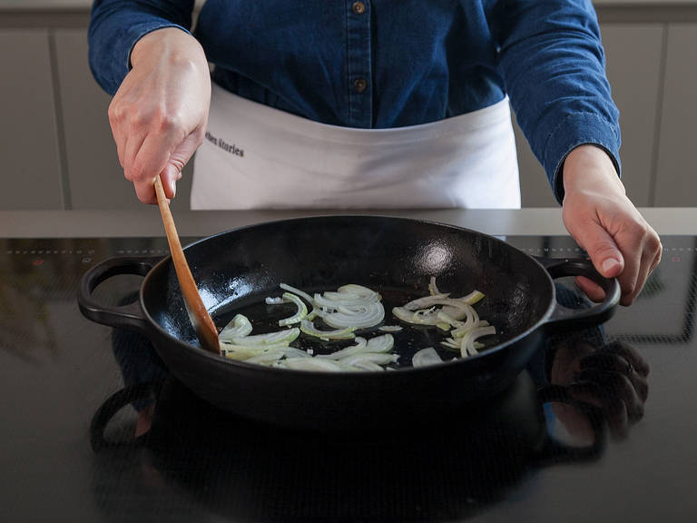 Add sliced onion to the same frying pan; sauté, stirring frequently, until golden brown.