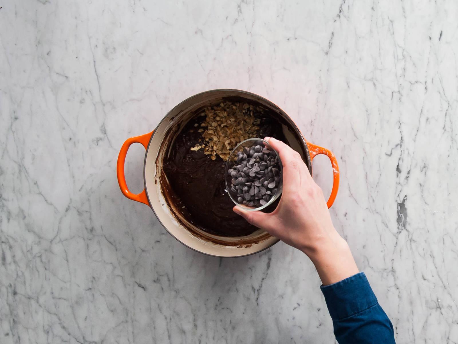 Eier einrühren. Mehl, Zucker, Vanilleextrakt und Backnatron unterrühren. Rühren bis ein glatter Teig entsteht. Die restlichen Mini Zartbitter-Schokoladendrops und die gehackten Nüsse unterrühren.