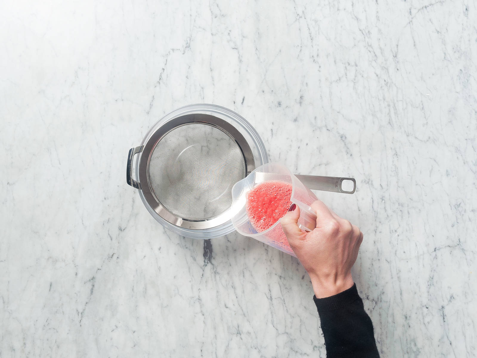 Peel and cube watermelon, then purée. Pass through a sieve into a measuring cup to extract juice.