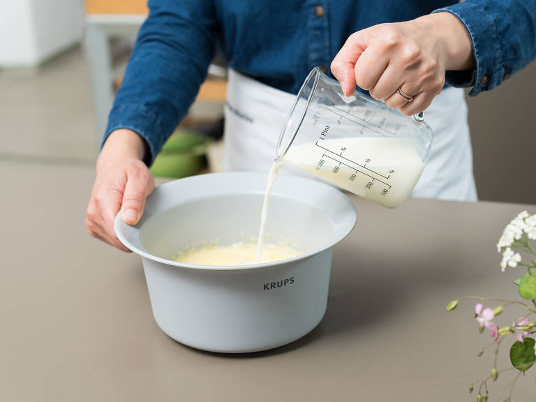 In a large mixing bowl, beat the eggs, then mix in sugar and salt and whisk until fluffy. Add milk, flour, and melted butter and mix until combined.