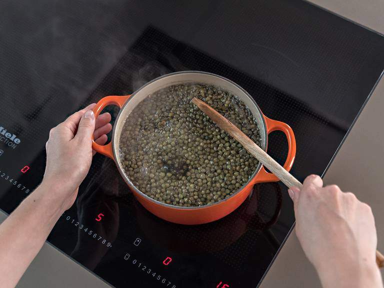 Add lentils to a large saucepan, cover with water, add salt, and bring to a boil. Reduce heat and leave to simmer over medium heat for approx. 20 min. until tender. Remove from heat, drain, and set aside.