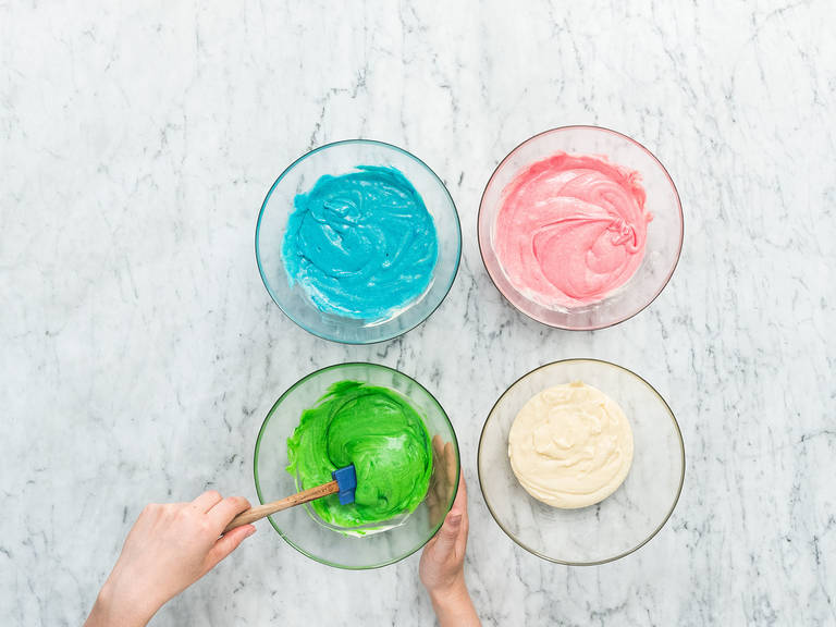 Divide batter equally into four bowls. Add red food coloring to the first bowl, green food coloring to the second bowl, blue food coloring to the third bowl, and leave the fourth one plain.