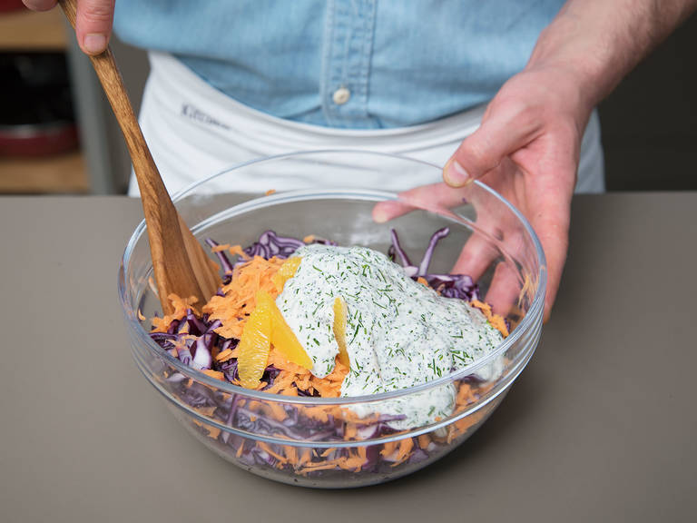 Pour dressing over the salad, stir to combine, and let set for approx. 30 min. Enjoy!
