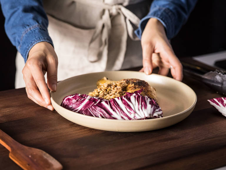Once the pot is boiling, add the chicken back in and cook for approx. 20 min. or until chicken is cooked through, spelt is cooked, and liquid is almost totally gone. Plate the spelt and chicken and serve with radicchio. Enjoy!