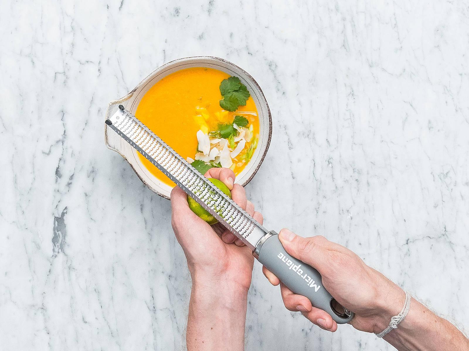在煎锅中放入椰子片,中火烘烤,直至椰子片稍微变棕色。将汤倒入碗中,饰以芒果丁、烤椰子片、葱末、香菜末和青柠皮碎。尽情享用吧!