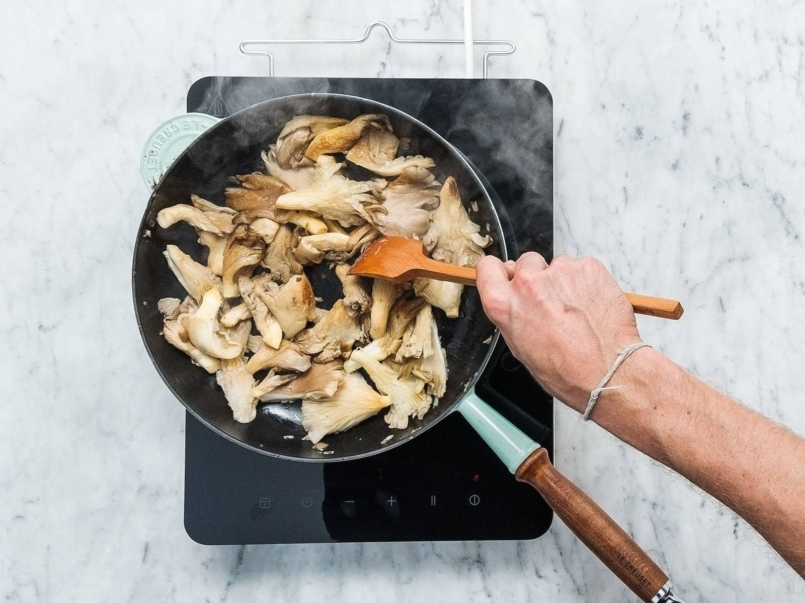 Heat remaining oil in a frying pan. Add oyster mushrooms and fry over medium heat for approx. 8 min. Remove from heat and season with salt to taste.