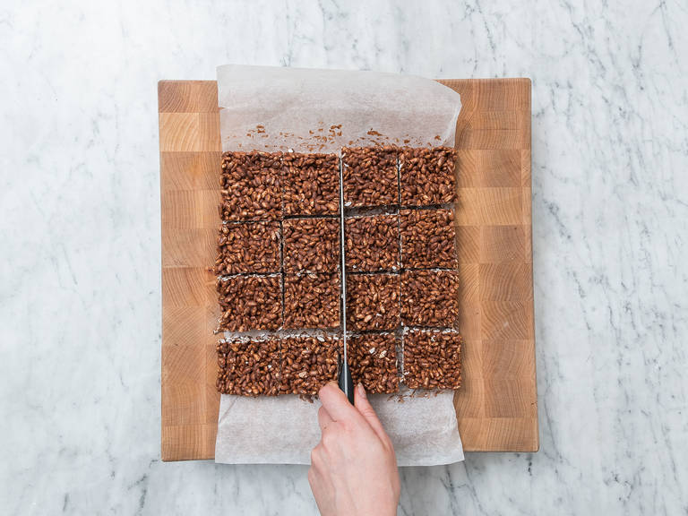 Cut cooled chocolate rice krispies into equal-sized pieces and enjoy!