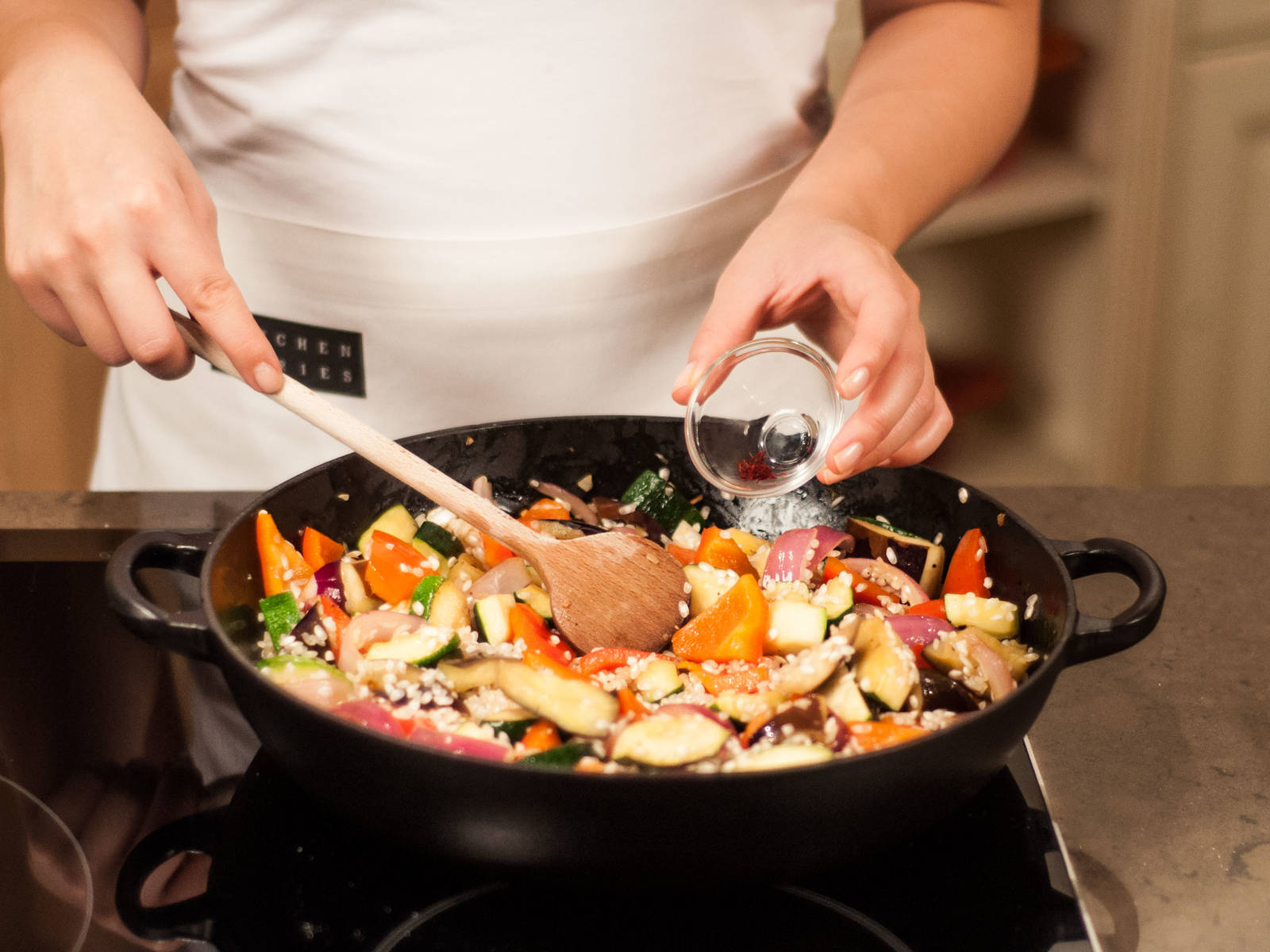 Add saffron to pan, stir thoroughly to combine, and continue to sauté for approx. 1 – 2 min.