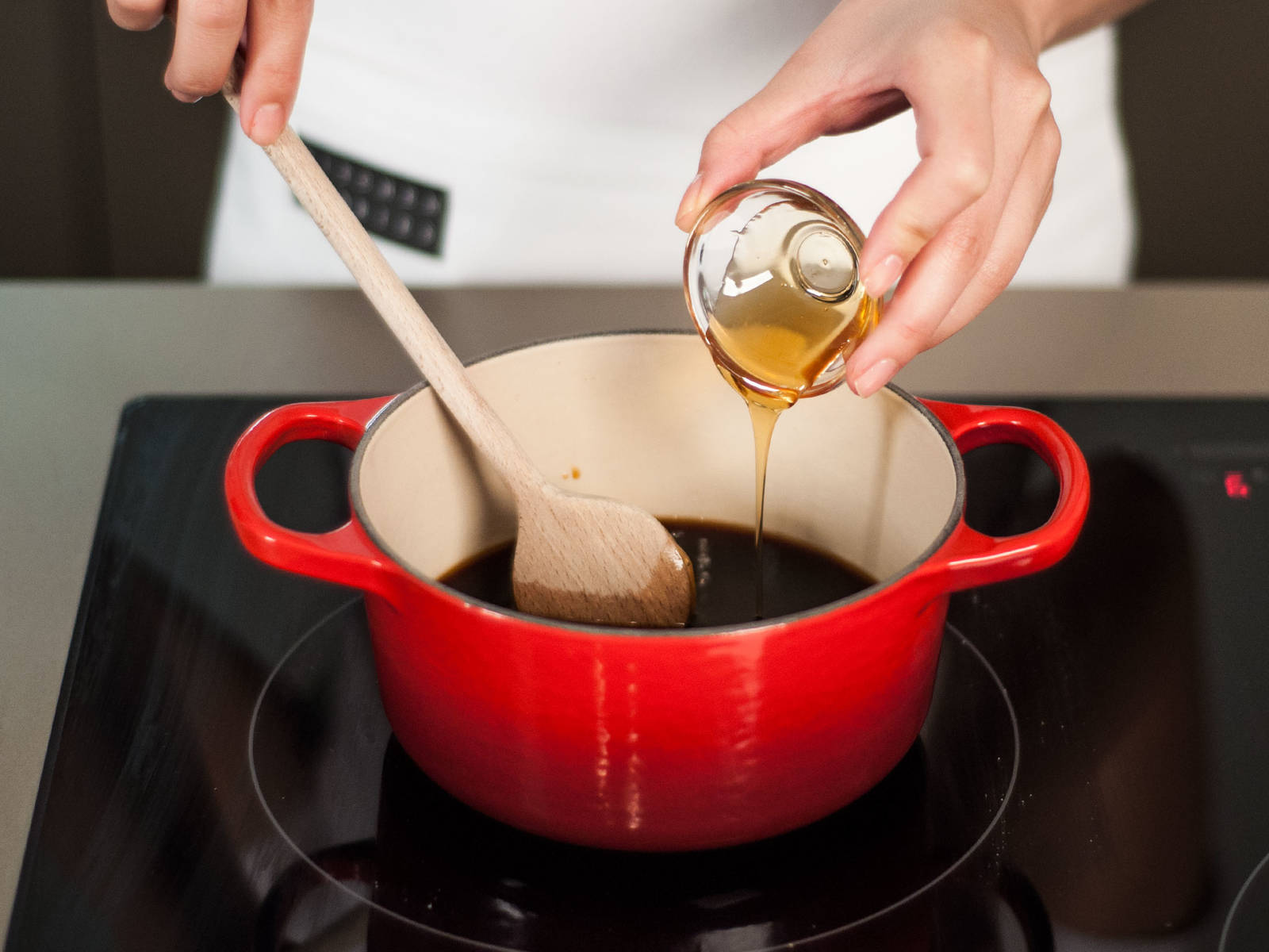 In a saucepan over medium-high heat, combine vegetable stock, soy sauce, mirin, and honey. Boil until volume is reduced by half, approx. 10 – 15 min.