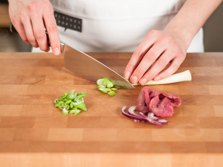 Meanwhile, cut beef into thin strips. Cut red onion and green onion into thin slices.