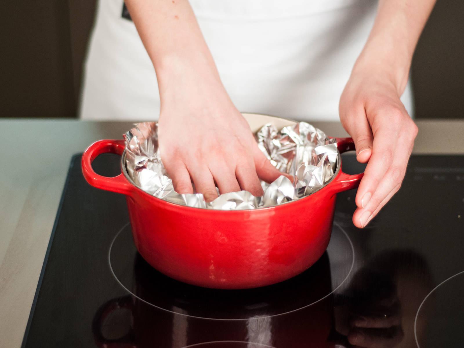停止加热后用锡纸盖上,焖3-4分钟,令肉质变得鲜嫩。
