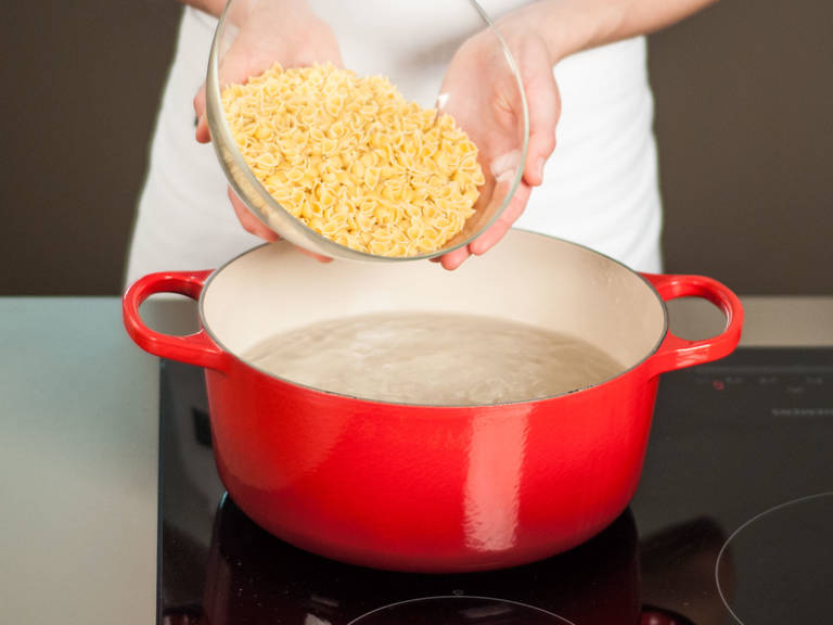 Cook pasta in salted boiling water, according to package instructions, for approx. 6 – 8 min. Drain and set aside.