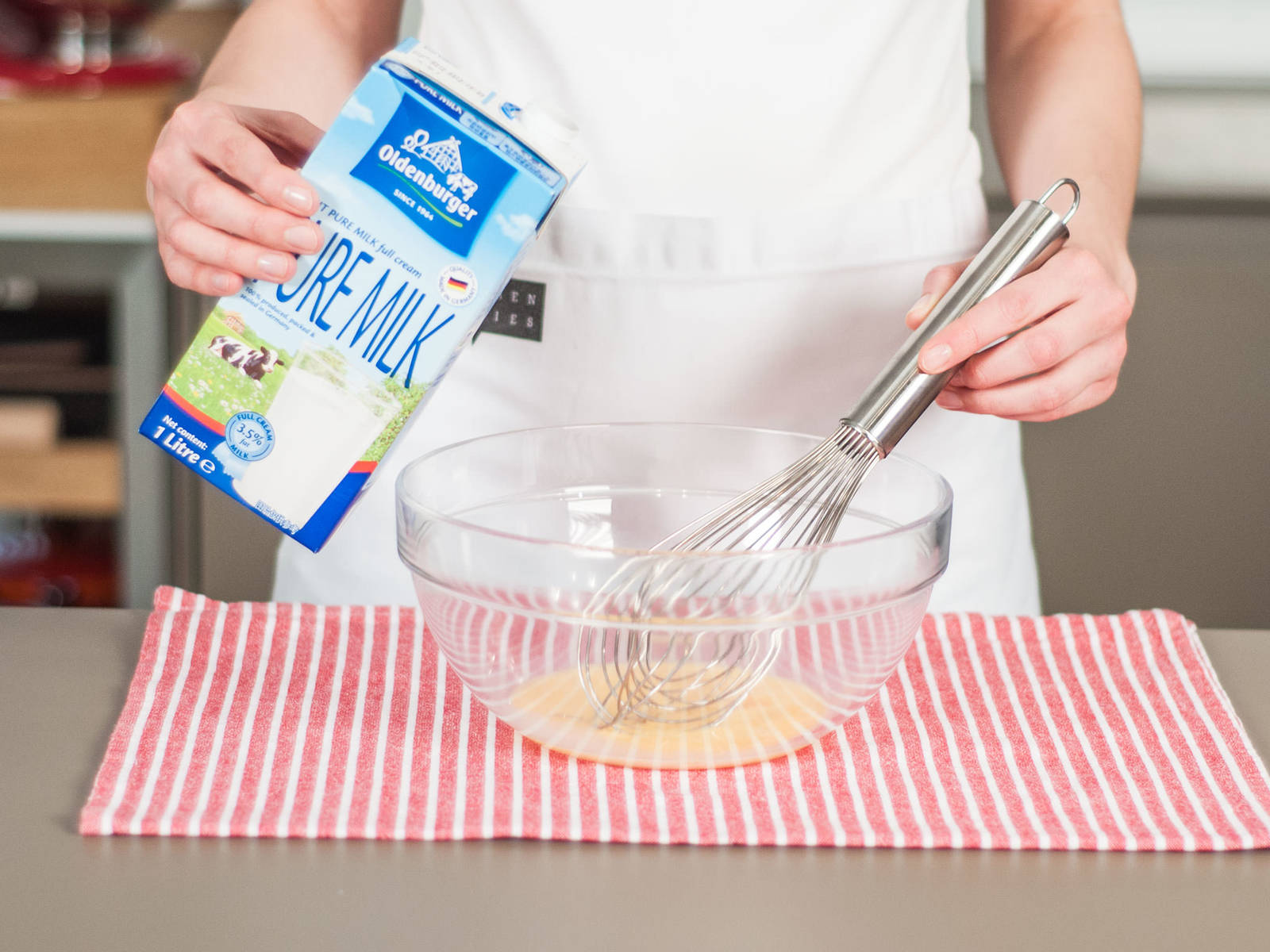 In a large bowl, whisk together milk and egg yolks.