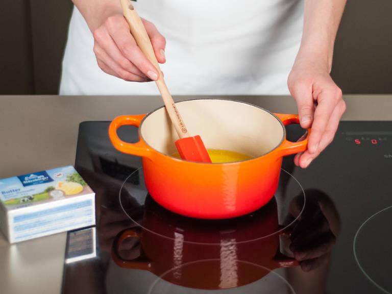 In a small saucepan, melt butter.