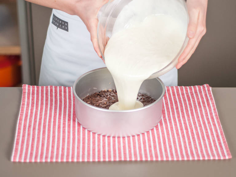 Pour cream into round baking form. Gently tap form on counter to release air bubbles. Transfer to refrigerator and allow to set for approx. 3 hours.