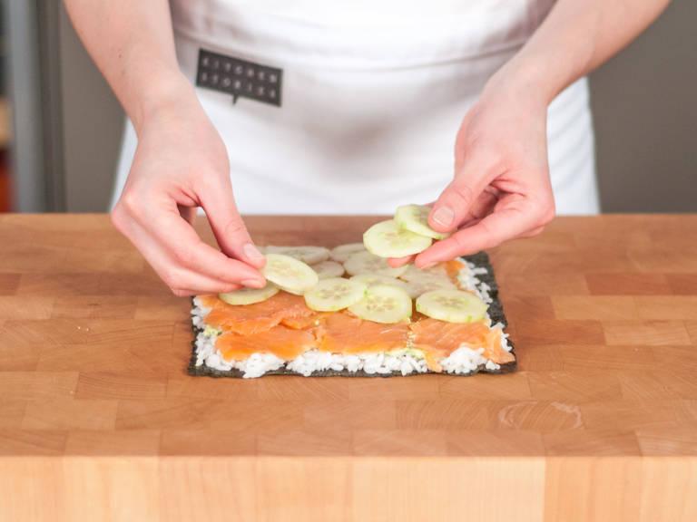 在砧板上备好海苔片。分层铺放米饭、鳄梨酱、三文鱼、黄瓜,然后重复铺放一层三文鱼、鳄梨酱和米饭。最后盖上另一片海苔,轻轻按压,确保所有食材不移位。切成三角状的三明治,可作为零食或简餐享用!