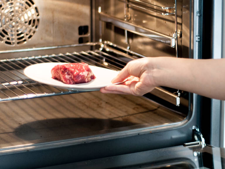Pre-cook steak in oven at 60°C/150°F for approx. 10 – 15 min.