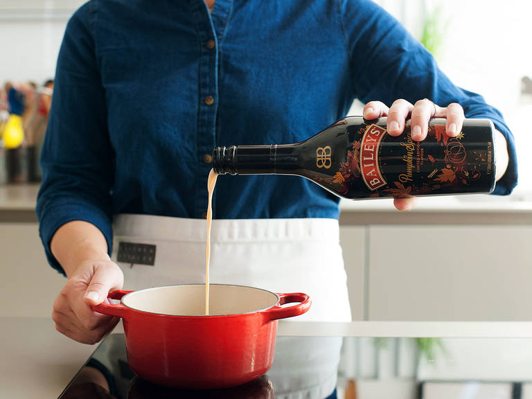 To make chocolate sauce, combine remaining water, sugar, syrup, unsweetened cocoa powder, and chopped chocolate in a small saucepan over medium heat. Stir constantly until melted and combined. Remove from the heat and add Bailey's Pumpkin Spice.