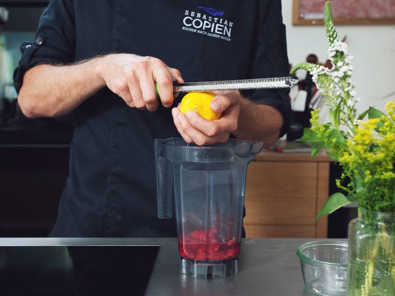 Add warm raspberries to blender, as well as dates and lemon zest. Mix on high speed for approx. 1 min. until smooth. For a smoother finish, strain sauce through a sieve and discard large pieces of fruit.