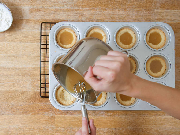 Pour caramel into each muffin cup and bake for approx. 6 – 8 min., then set aside to cool.