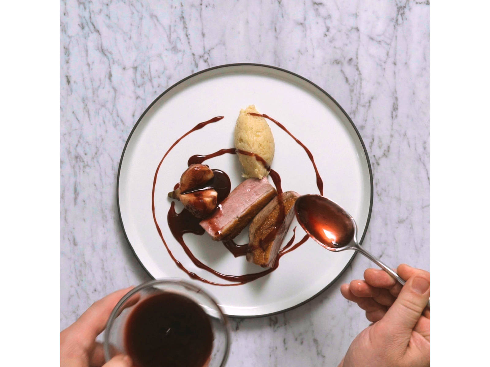 To serve, slice duck breast and halve figs. Arrange on serving plates together with parsnip puree, then drizzle with cassis reduction and sprinkle with thyme.