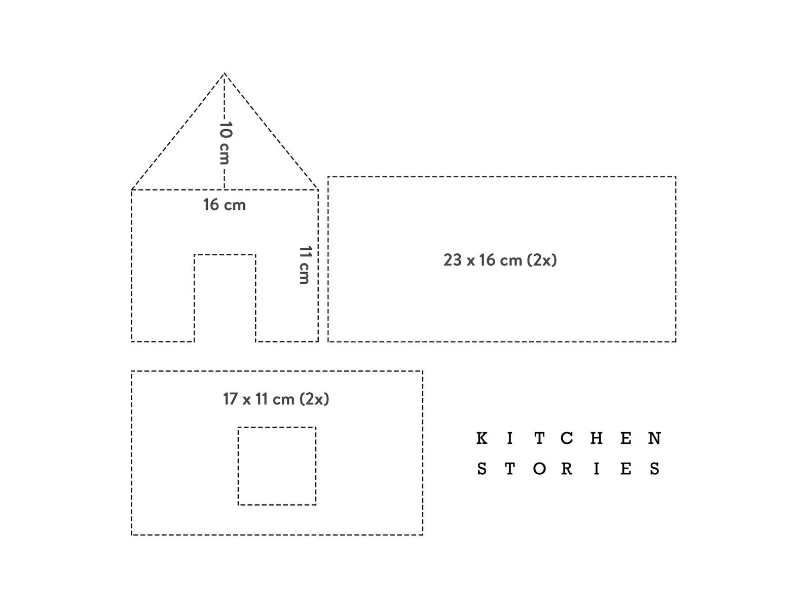 For your gingerbread house cut out each template from the dough twice. You can also take the measurements and make your own stencils. Enjoy!