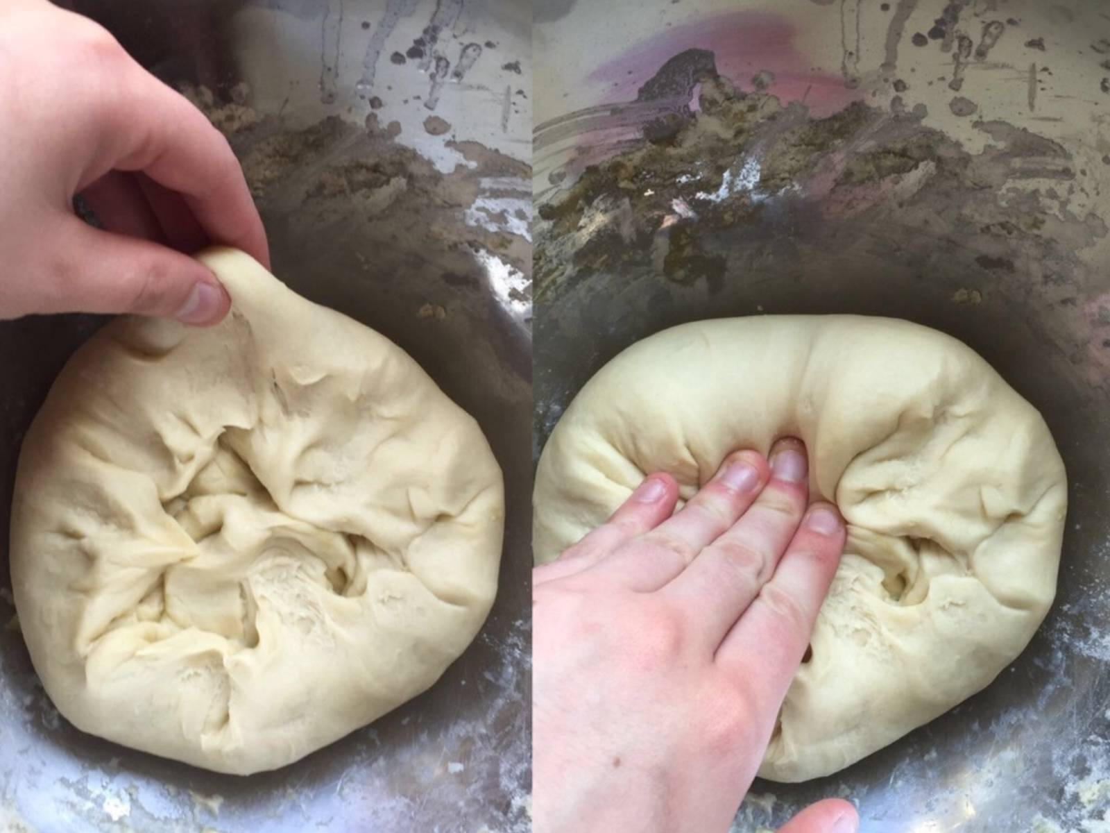 Pull dough up on one side and press down in the center. Repeat this in a circular movement until the entire dough has been worked. Cover again and rest for 5 min. Repeat this step two times until dough is elastic.