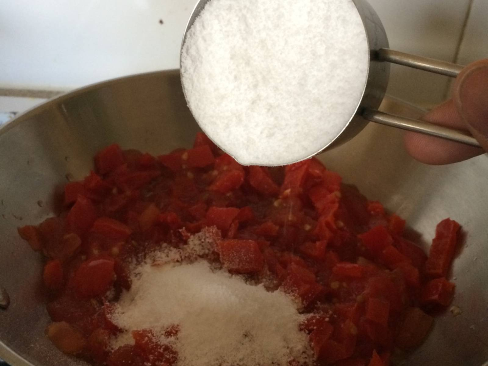 Sautée diced red pepper with stevia and cinnamon until excess water boils out.
