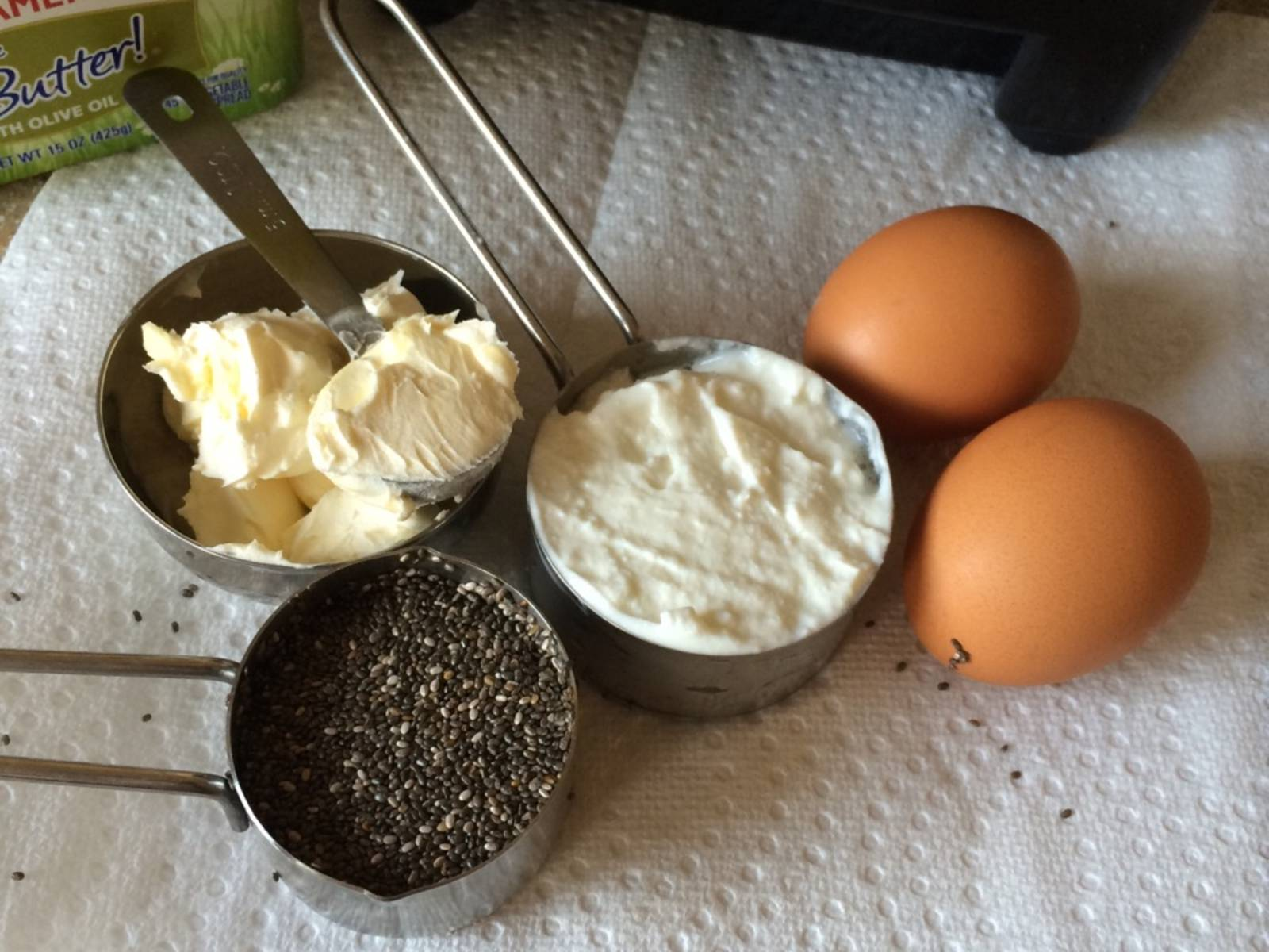 Blend chia seeds, Greek yogurt, egg, and margarine into batter.