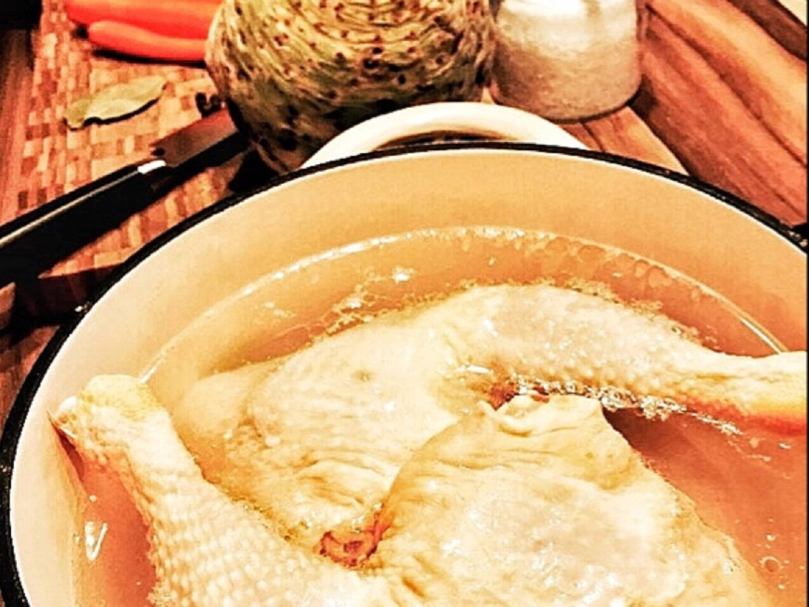 Put chicken thighs in a large pot with water. (Water should cover thighs, add more if necessary). Add salt.