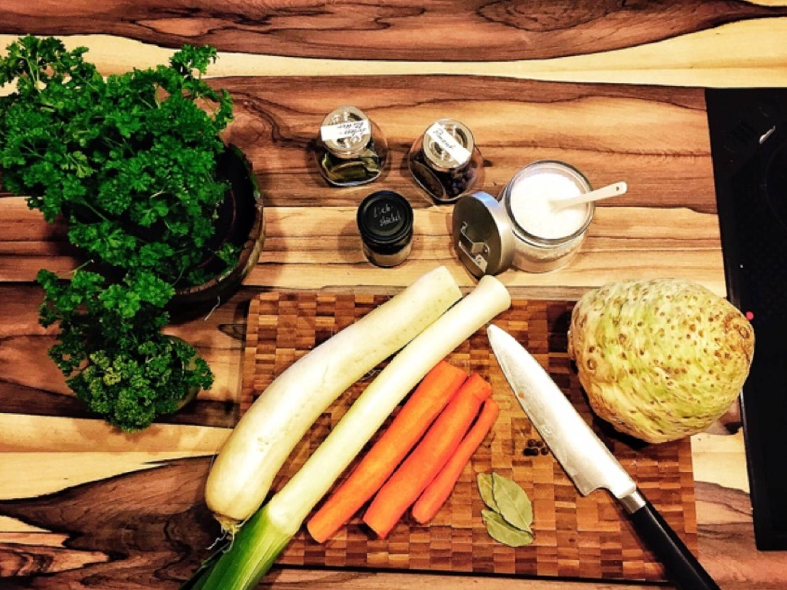 Roughly chop carrots, celery root and stalk, leek, and radish.