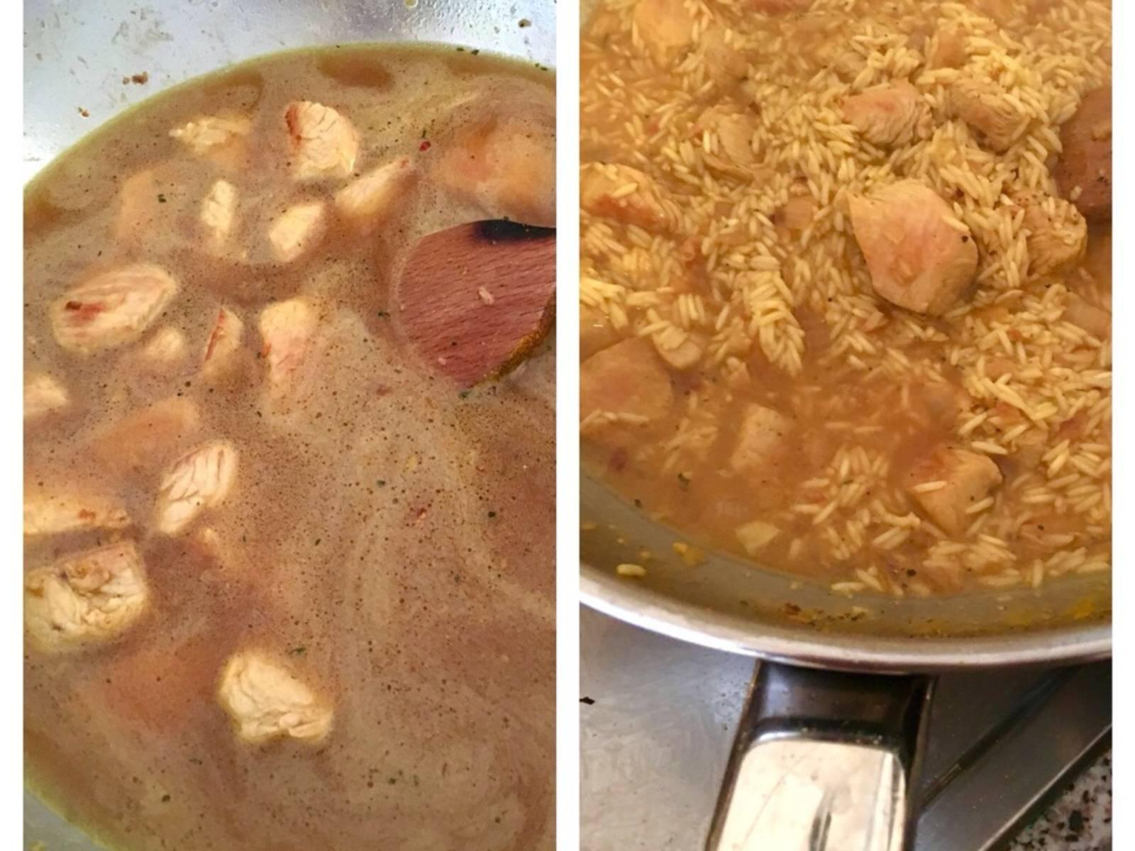 Zu dem Fleisch Wasser hinzugeben und ca. 10 Min. köcheln lassen. Anschließend den Reis dazu und weiterhin ca. 20 Min. garen. Mehr Wasser nachgießen, falls notwendig.