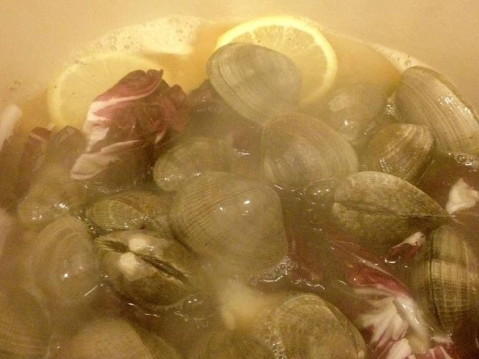 将蛤蜊和菊苣倒入高汤中,煮15分钟,至蛤蜊壳张开。弃用未开口的蛤蜊。
