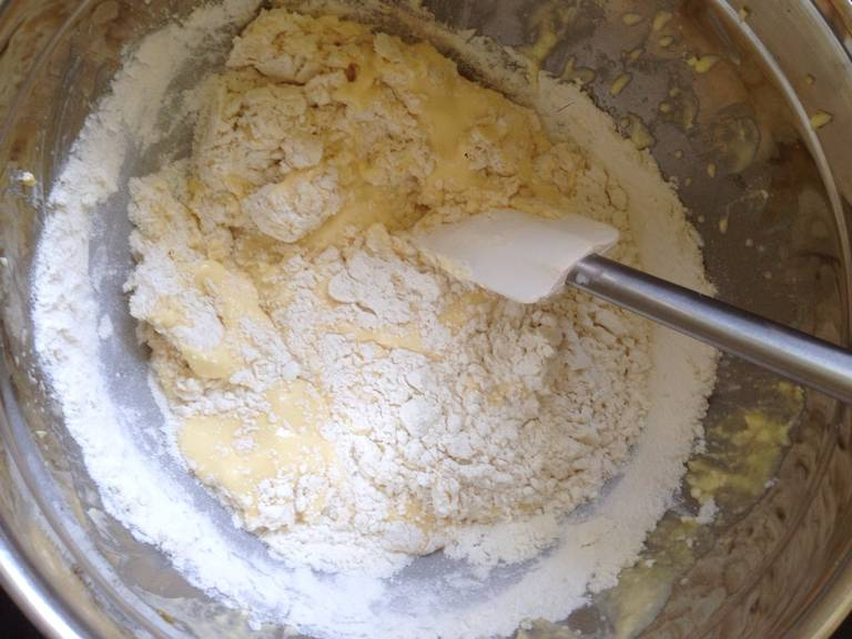 Fold into the butter-egg mixture.