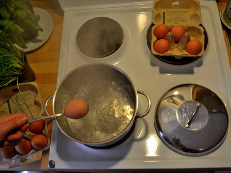 Cook eggs for 9 min. until hard-boiled. Set side to cool down.