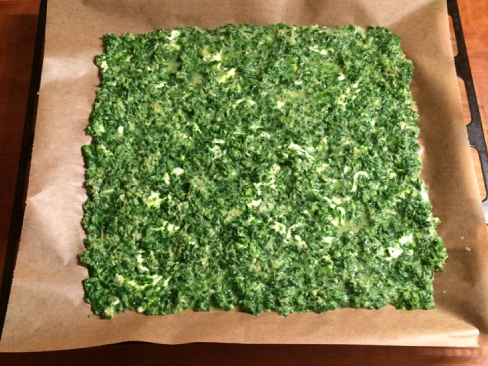 Spread the mixture on a baking sheet lined with parchment paper and bake at 200°C/390°F for approx. 15 min.