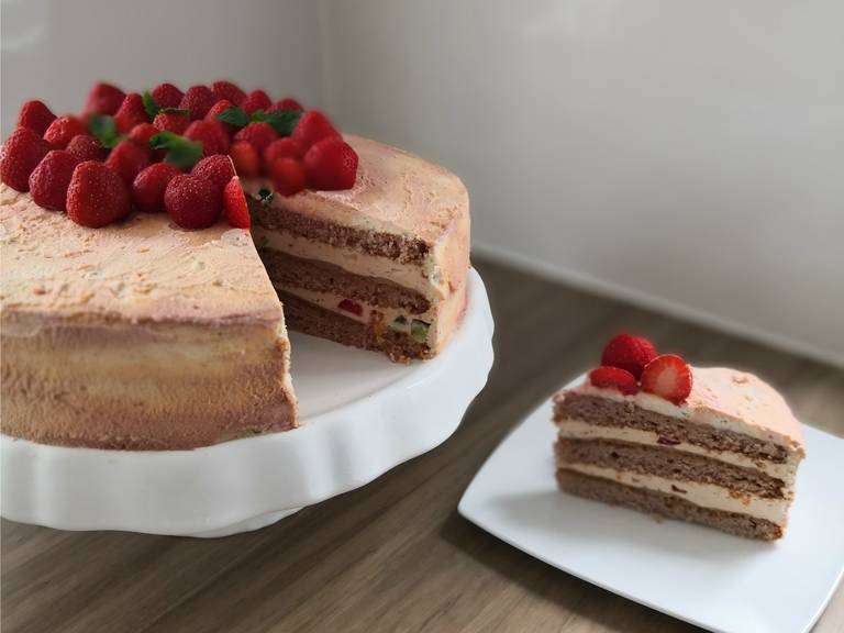 To make the outer frosting, whisk mascarpone, lemon zest, and confectioner's sugar, then gradually whisk in heavy cream until soft and spreadable. You can add a bit of red food coloring if you want. Then spread the cake with the frosting and decorate with strawberries and mint. Ready to enjoy!