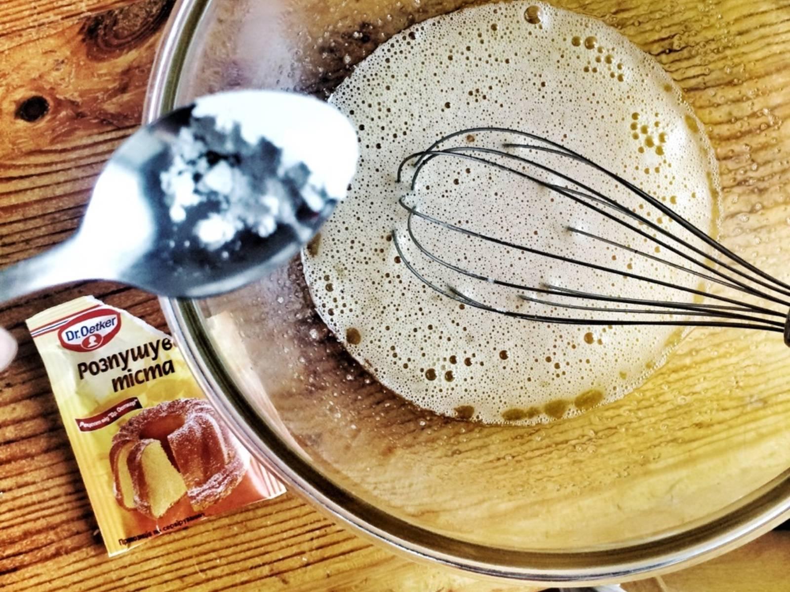 Add baking powder and mix.