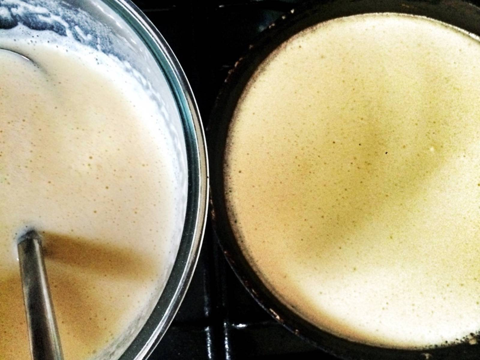Time to fry our pancakes! Pan should be VERY hot! Add a bit of oil to the pan (use silicone brush) and add some of the batter to the pan. Fill all space. Approx. 2 min. on each side and it's ready! Repeat until all batter is used up.