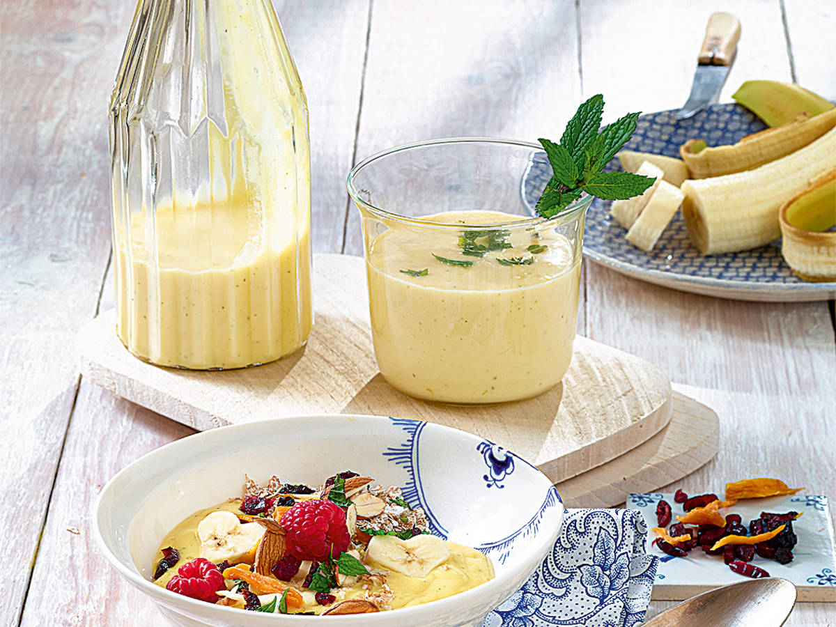 Mango-Minz-Smoothie mit Buttermilch