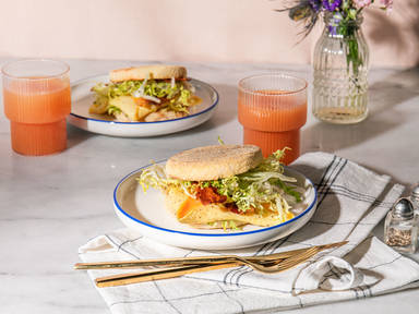 Breakfast sandwiches with lemony frisée